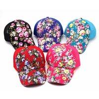 örgü güneş kremi toptan satış-Çiçek Baskı At Kuyruğu Beyzbol Şapkası Moda Tuval Çiçek Örgü Güneş Şapka Açık Yaz Kadınlar Seyahat Kamp Güneş Koruyucu Şapka TTA908