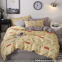 edredones 3d para camas al por mayor-Queen Bed Edredones Conjuntos de ropa de cama de diseñador Funda de edredón 4 piezas traje de sábanas de algodón conjunto de ropa de cama dormitorio cama individual de tres piezas P