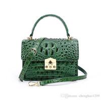 ingrosso borsa di coccodrillo genuina verde-Donne di alta qualità 2019 nuove donne Messenger Crossbody borse a tracolla in pelle genuina borsa a tracolla Noble borsa a tracolla donna nero verde Q0776