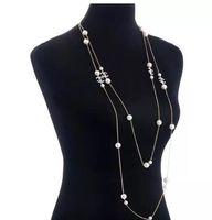ingrosso oro della collana della farfalla-luxury styl pair collana di perle lungo 2 strati Classic Multilayer Camellia Flower Butterfly Sweater Collana di perle Catena d'oro l