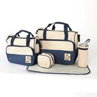 bebek bakım çantaları toptan satış-Mumya Çanta 5-pcs Set Su Geçirmez Çanta Bezi Çanta Büyük Kapasiteli Seyahat Sırt Çantası Bez Değiştirme Bezi Ped Çanta Organizatör Bebek Hemşirelik Çantası