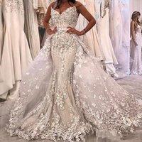 свадебное платье цветочное плюс размер оптовых-Белое Роскошное 3D Цветочное Аппликация Свадебное Платье Русалка Плюс Размер Съемный Свадебное Платье Поезд