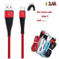 cable de carga del teléfono universal al por mayor-Cable de carga de datos de sincronización de 1 m 3 pies de alta resistencia 2.4A cable de datos usb de carga rápida cables micro usb tipo C para el teléfono S9 s10 cable p10