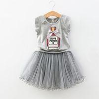 şişe kız kıyafeti toptan satış-Perakende kızlar butik kıyafetler yaz 2 adet takım elbise set parfüm şişesi baskı kolsuz gömlek + fırfır etek bebek eşofman çocuklar giysi tasarımcısı