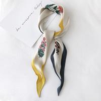Wholesale white silk chiffon scarves for sale - Group buy Luna Dolphin Spring Women Diamond Scarf cm Flower Print Red Green Chiffon Silk Scarves White Vintage Headbands