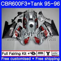 honda cbr f3 carenados al por mayor-Cuerpo + tanque para HONDA CBR600RR CBR 600F3 CBR 600 F3 FS 95 96 289HM.18 CBR600FS CBR600 F3 95 96 plateado brillante CBR600F3 1995 1996 Carenados
