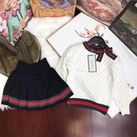 Wholesale baby western clothing online - Children s Garment Girl Autumn Baby Clothing Set New Pattern Korean Twinset Children In Will Child Western Style Sweater Suit