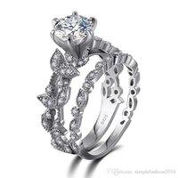 rhodium 925 ringe großhandel-2018 Hotstone88 handgemachte Blume Stil Ring Set 5A Zirkon CZ 925 Sterling Silber Engagement Ehering Ring für Frauen Modeschmuck Geschenk