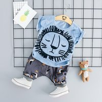 boy korece sevimli çizgi film toptan satış-ZJZY01 Kore Karikatür Takım Elbise Sevimli Bebek Suit Erkek Ve Kız Kısa kollu Şort çocuk