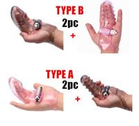 clit vibrator orgasmus großhandel-Finger Ärmel Vibrator Weiblicher Masturbator G-Punkt-Massagegerät Klitoris Stimulieren Weiblichen Geschlechts Orgasmus verbessern Spielzeug 2 Stücke 2 Arten