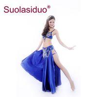 falda de danza del vientre azul real al por mayor-Falda de danza del vientre azul real tamaño libre sexy elasticidad Danza del vientre de alta calidad vestido de práctica femenina traje de rendimiento de la etapa