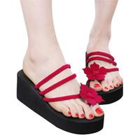 sandalia eva plataforma al por mayor-2019 Summer Woman Slippers Platform Shoes Flower Ladies Sandalias de playa Chanclas Zapatillas de tacón alto para mujer Zapatos EVA