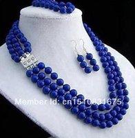 ingrosso orecchini d'argento lapis lazuli-argento Regalo parola Amore donna Moda Gioielli 3 file 8mm orecchini collana orecchini lapis lazuli setxu65