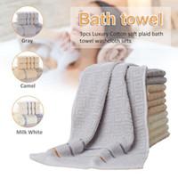 grandes serviettes de toilette achat en gros de-3pcs luxe hôtel broderie serviettes de bain blanc ensemble 5 étoiles 100% coton grande serviette de plage absorbant serviettes de salle de bains à séchage rapide