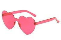 melocotón gafas de sol mujeres al por mayor-DHL Free Ship Peach Forma de corazón Mujeres Gafas de sol 12 colores Sin marco PC Gafas Unisex Diseño Gafas de sol Lentes de colores y montura