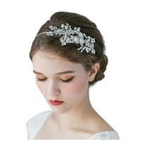 Wholesale beaded hair tiaras resale online - Girls Silver Crystal Wedding Tiara Headband Beaded Flower Prom Bridal Hair Band Pearl Bride Headpiece For Women Hair Jewelry