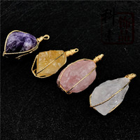 Wholesale agate druzy pendants resale online - Crystal Stone Druzy Agate Pendant Colors with Gold Plated Brass Natural Irregular Natural Stone Charms for Men Women Jewelry Accessories