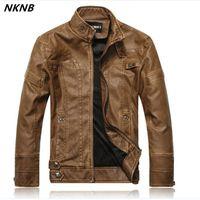 süet bomber ceketler toptan satış-Erkekler faux Deri Süet Ceket Moda Sonbahar Motosiklet PU Deri Erkek Kış Bombacı Ceketler Kabanlar Faux Coat