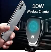 беспроводная зарядная подкладка для iphone оптовых-Qi гравитационное беспроводное зарядное устройство для iPhone X XR XS Max 8 Plus 10W Fast Wireless Car Charger зарядная площадка для Samsung S9 Car Holder Charger ho