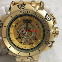 Wholesale strap for sell resale online - 3A good quality men invicta GOLD watches stainless steel strap Mens Watches Quartz Wristwatches relogies for men relojes Best Gift Hot Sell