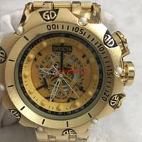 armbanduhren gute qualität großhandel-3A + gute qualität männer invicta GOLD uhren edelstahlband Herrenuhren Quarz Armbanduhren relogies für männer uhren Bestes Geschenk Heißer Verkauf