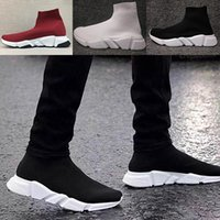 Wholesale brand name casual boots resale online - 2020 Name Brand High Quality Speed S Trainer Casual Shoe Man Woman Sock Boots With Box Stretch Knit Casual Boots Race Runner Cheap Sneaker