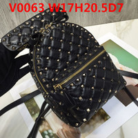 Wholesale female casual backpack for sale - Group buy Female Designer Leather backpack Imported Luxury sheepskin soft flexible touch Top metal studs casual bags double pockets