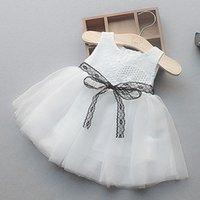 neugeborene mädchen brautkleider großhandel-Sommerkleider Säuglingsbabykleid Neugeborene Spitzentaufe Kleider für Mädchen 1. 2. 3. Geburtstagsfeier Hochzeit Baby Freizeitkleidung