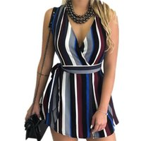 venda de vestidos irregulares venda por atacado-2019 Verão Metropolitan Moda V Collar Imprimir Belted Vestido Sem Mangas Listrado Vestido Venda Quente Irregular Mulheres Com Decote Em V Sexy Vestido