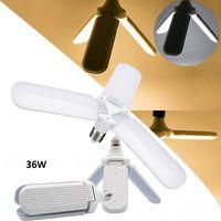 E27 LED Bulb 36W Foldable Garage Light Super Bright Foldable Fan Blades Angle Adjustable Ceiling Lamp Home Energy Saving Lights cool white
