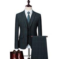ingrosso ora si veste-Abiti da uomo sono ora popolari vestito nuovo a tre pezzi vestito casual business plaid uomo d'affari (giacca + pantaloni + maglia) vestito da banchetto