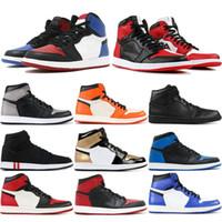 производитель обуви высокого качества оптовых-1 High OG Мужская баскетбольная обувь Banned Bred Toe Shadow Gold Высочайшее качество Дизайнерские мужские кроссовки для легкой атлетики Кроссовки 40-47