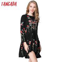 ingrosso abito coreano bohemien-Tangada Vintage Women Floral Ricamo Abiti Primavera Bohemian Black Sleeve Vintage Fashion 2017 Korean Vestidos Robe Femme