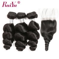 Wholesale peruvian wet wavy hair weave for sale - Group buy Loose Wave Bundles With Closure Brazilian Virgin Hair Weave Bundles With Closures Peruvian Remy Wet and Wavy Human Hair Weaves With Closure