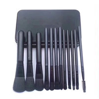 Wholesale iron box brush online - Brand Makeup Brushes Black Color Professional Make Up Tools Sets Foundation Powder Eyeshadow Cosmetics Brush Kit with Iron Box
