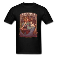 bohemia t shirt toptan satış-Bohemia Adam T-shirt Kadın T Gömlek Pamuk Tshirt Yaz Siyah Tops Tees Sanatçı Benzersiz Giyim Şükran Hediye