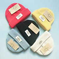 çocuklar için örme kapaklar toptan satış-Çocuklar Örme Kap Kış UG Kasketleri Şapkalar Bebek Sıcak Skullies Kız Erkek Örgü Sıcak Rahat Kapaklar Düz Renk Hip-Hop Şapka GGA2546