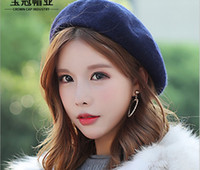 Wholesale boy scarfs beanies resale online - New wool pure color berets Korean version painter hat lady autumn winter woollen beanie
