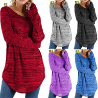 Wholesale clothes womens wholesalers online - Casual t shirt Women Long Sleeve Loose T shirt Solid Plus Size Tee Shirt Womens Clothing Streetwear Style Tops Female MMA1338