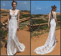 Wholesale sexy open back wedding dresses online - 2019 New Elegant Lace Sheath Wedding Dresses Limor Rosen Bridal Sleeveless Deep V Neckline Open V Back Chapel Train