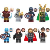 rakamlar avengers kara dul toptan satış-Kid için 8pcs Lot Avengers Süper Kahraman Iron Man Chitauri Kaptan Amerika Loki Kara Dul Thor Hawkeye Mini Oyuncak Figür Yapı Taşı Tuğla