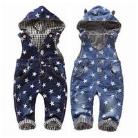 baby girl tops jeans toptan satış-0-4 t Bebek Tulumları Bahar Kız Erkek Sıkı Yıldız Kot Tulum En Kaliteli Çocuklar Pamuk Pantolon Kapüşonlu Tulum Babe Giysileri J190712