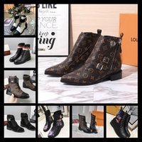 Wholesale tone model resale online - A6 model Top new autumn winter martin boots women booties chunky heels ankle boots two tone pointed fashion shoes