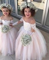 weinlese kleidung großhandel-Langen Ärmeln Blumenmädchen Kleid rosa Spitze schiere Hals Vintage Kind Festzug tragen schöne Prinzessin Erstkommunion Party Kleider