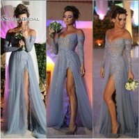 Wholesale vintage maternity wedding dresses resale online - Sexy Gray Long Prom Dresses Long Sleeve Beaded Sequined Applique Off the shoulder A Line Tulle Side Split Evening Party Gowns