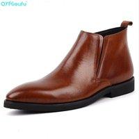 bota de vestir marrón de los hombres al por mayor-Los hombres de la moda de vestir botas de cuero genuino de alta calidad de cuero de vaca los cargadores del tobillo de la hebilla de la cremallera Negro Marrón Trabajo