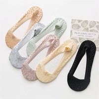 meias invisíveis venda por atacado-MOQ 10pairs Meninas Low Cut Invisible meias macias laço material Meias Chinelos Verão Mulheres Meias