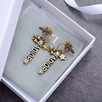 Wholesale custom design pendants resale online - European and American luxury design custom earring classic letter small bee set with diamond pendant earring