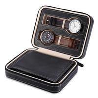 ingrosso orologi da viaggio-4 Grids PU Leather Watch Box Custodia da viaggio con cerniera Orologio da polso Box Organizer Holder per orologio Orologi Jewelry Boxes Display