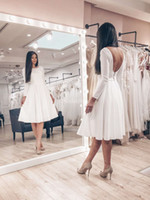 Wholesale knee length wedding dresses for sale - Group buy Modern Arabric Short Wedding Dresses Jewel Neck Backless A Line Knee Length Beach Bridal Gowns Simple Garden Castle Vestidoe De Noiva Custom